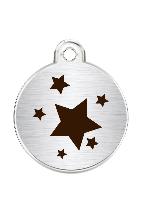 CNATTAGS Stainless Steel Pet ID Tags Personalized Designers Round Various Designs (Stars)