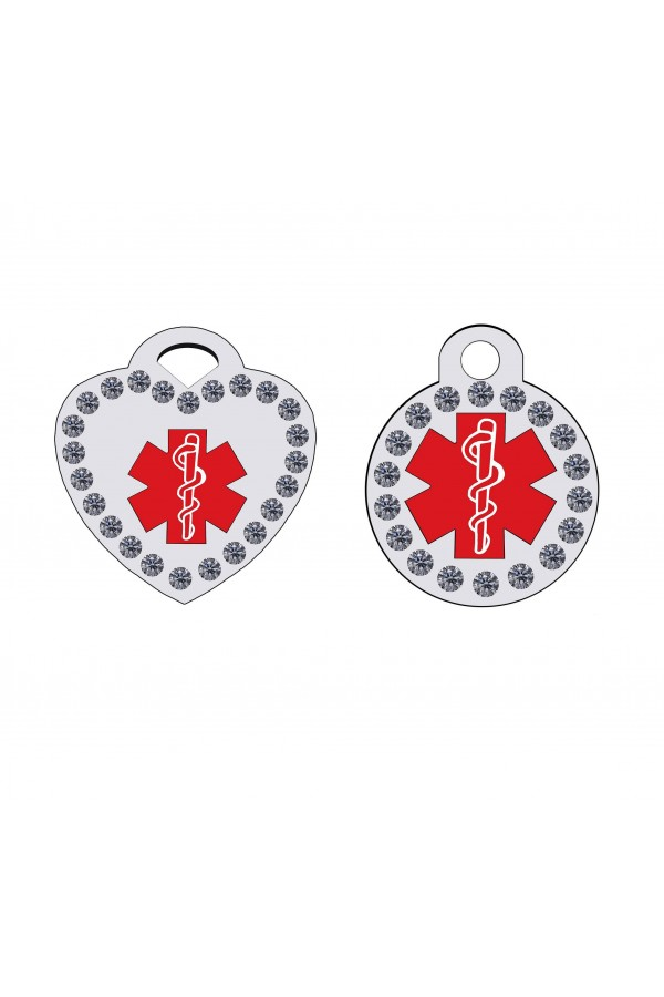 CNATTAGS - STAINLESS STEEL DESIGNERS CRYSTAL ROUND-HEART MEDICAL ALERT PERSONALIZED ENGRAVED PET ID TAG