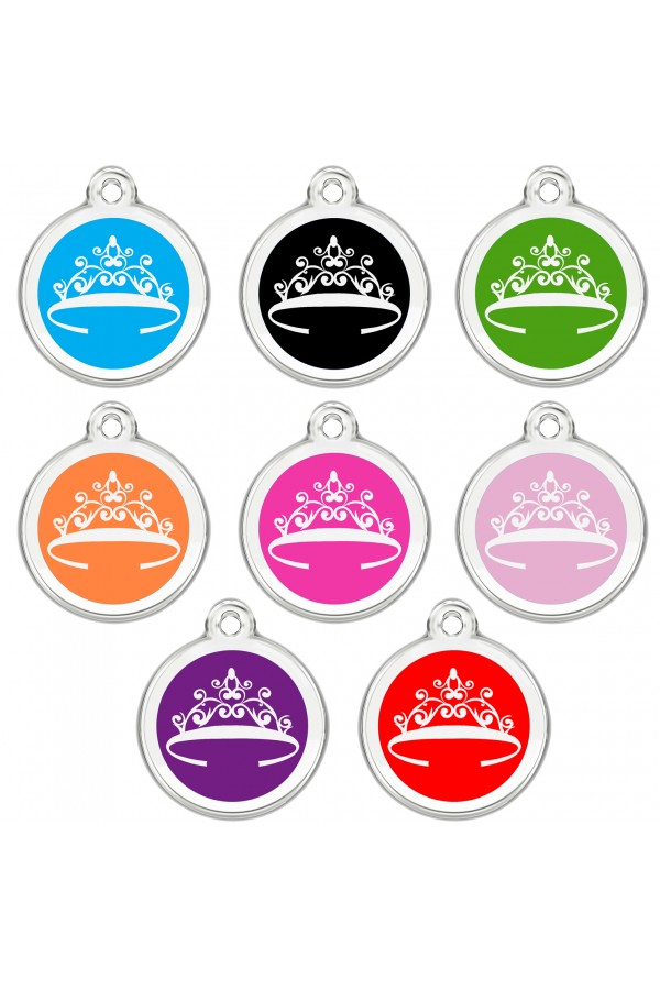 CNATTAGS - Stainless Steel with Enamel Personalized Pet ID Tags Designers Round Crown
