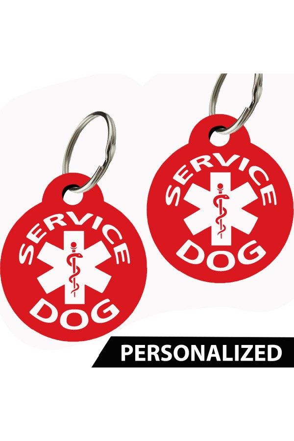 Service Dog Pet Tags Personalized (Round) (Set of 2) by CNATTAGS
