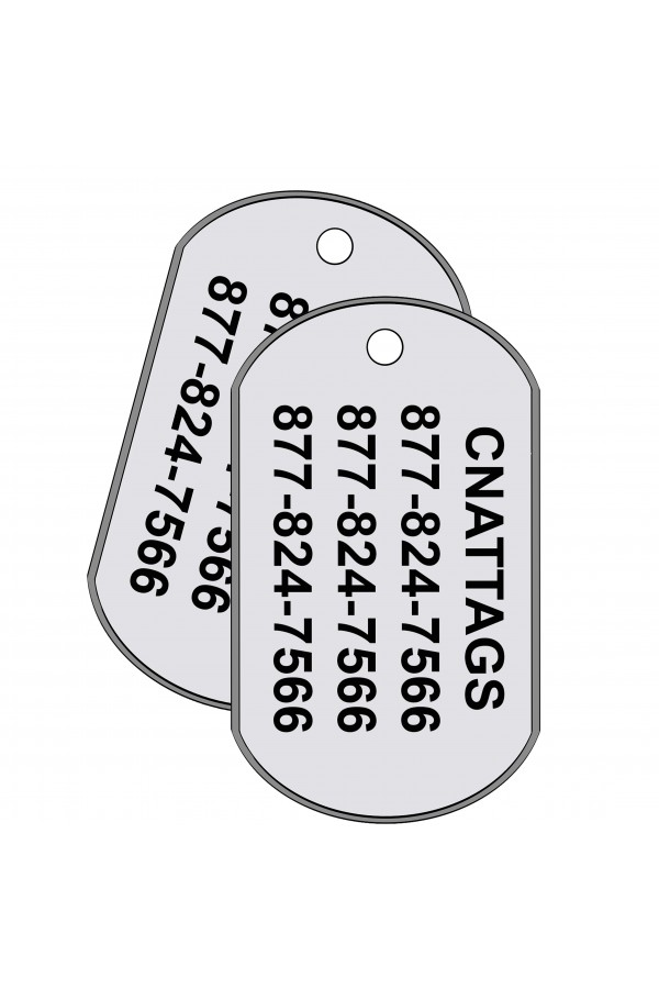 Dog Tags - GI Rolled Edge US Military Shape, Personalized, Stainless Steel, Set of 2