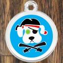 Enamel Pet Tags Round Pirate Dog