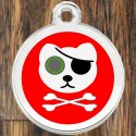 Enamel Pet Tags Round Pirate Cat