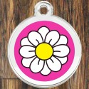 Enamel Pet Tags Round Daisy