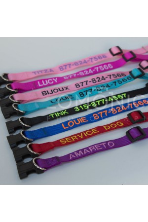 Embroidered Pet Collars - Personalized Collars For Dogs and Cats, Adjustable Sizes and Colors, Premium Nylon