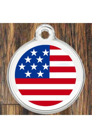Enamel Pet Tags Round (USA Flag)