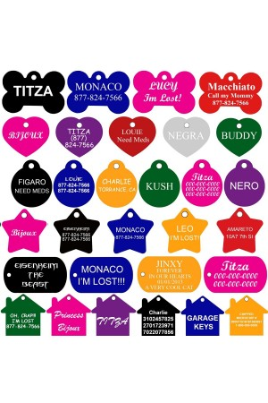 As low as $0.99/each Bulk Price - Pet ID Tags Many Shape, 8 Colors, Personalized Front and Back Premium Aluminum For Dogs and Cats