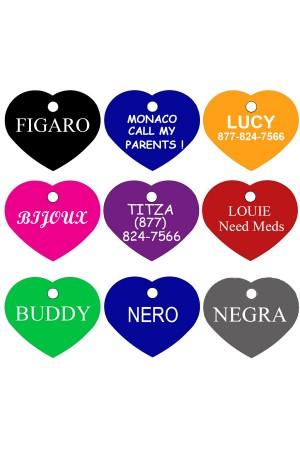 CNATTAGS Pet ID Tags Heart Shape, 8 Colors, Personalized Premium Aluminum
