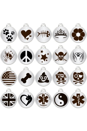 Stainless Steel Pet ID Tags Personalized Designers Round Various Designs
