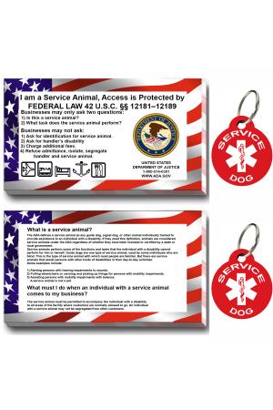 CNATTAGS - Service Dog ID Tag Kit,  (50 ADA Info Cards + Round Tags)