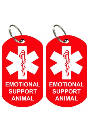 ESA - Pet ID Tags, Various Shapes and Colors, Doubled Sided Emotional Support Animal, Premium Aluminum (Set of 2)