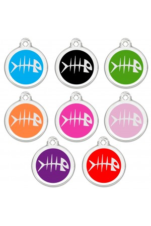 CNATTAGS Personalized Stainless Steel with Enamel Pet ID Tags Designers Round Fish
