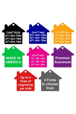CNATTAGS Pet ID Tags House Shape, 8 Colors, Personalized Premium Aluminum