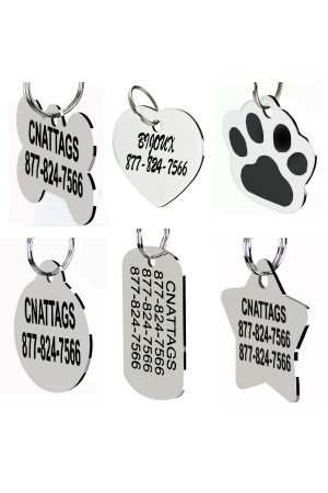 As low as $1.49/each Bulk Price - Premium Stainless Steel Pet ID Tags Many Shape, Personalized Front and Back For Dogs and Cats