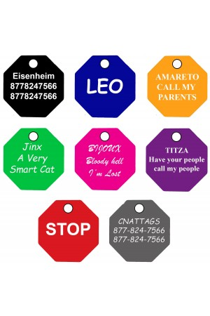 CNATTAGS Pet ID Tags Octagon Shape, 8 Colors, Personalized Premium Aluminum