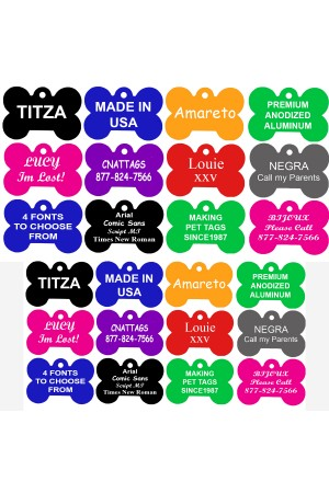 CNATTAGS Pet ID Tags Bone Shape, 2 Sizes, 8 Colors, Personalized Premium Aluminum