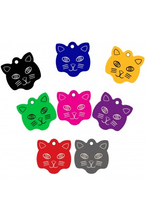 CNATTAGS - Pet ID Tags Cat Face Shape, 8 Colors, Personalized Premium Aluminum