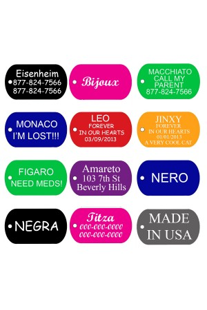 CNATTAGS - Pet ID Tags GI Military Shape, 8 Colors, Personalized Premium Aluminum