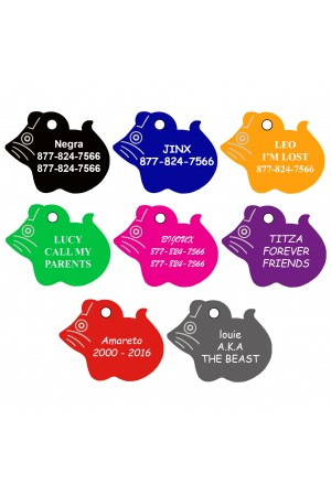 CNATTAGS - Pet ID Tags Mouse Shape, 8 Colors, Personalized Premium Aluminum