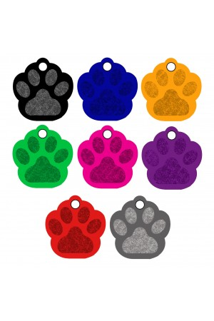 CNATTAGS - Pet ID Tags Paw Shape, 8 Colors, Personalized Premium Aluminum