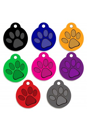 CNATTAGS - Pet ID Tags Round Paw Shape, 8 Colors, Personalized Premium Aluminum