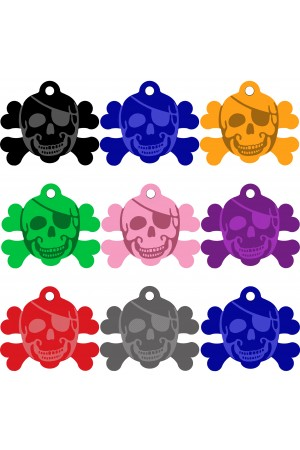 CNATTAGS Pet ID Tags Skull Shape, 8 Colors, Personalized Premium Aluminum