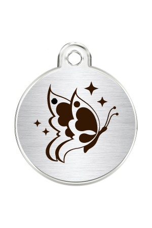 CNATTAGS Stainless Steel Pet ID Tags Personalized Designers Round Various Designs (Butterfly)