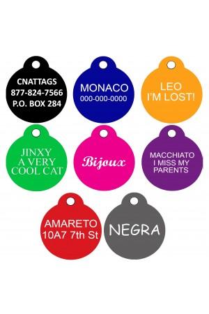CNATTAGS Pet ID Tags Round Shape, 2 Sizes, 8 Colors, Personalized Premium Aluminum