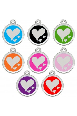 Stainless Steel with Enamel Pet ID Tags Personalized Designers Round Hearts
