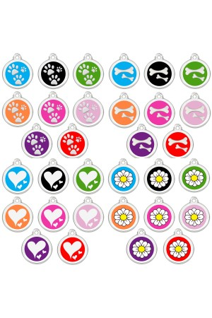 CNATTAGS Stainless Steel with Enamel Personalized Pet ID Tags Various Designs and Colors