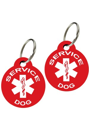 Service Dog - Pet ID Tags, Various Shapes and Colors, Doubled Sided Medical Alert Symbol , Premium Aluminum (Set of 2)