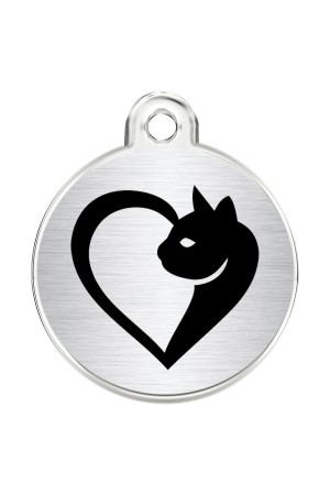CNATTAGS Stainless Steel Pet ID Tags Personalized Designers Round Various Designs (Cat Heart)