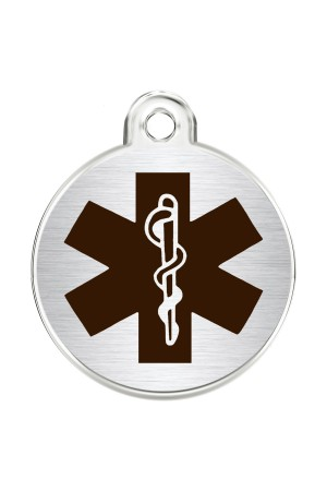 CNATTAGS Stainless Steel Pet ID Tags Personalized Designers Round Various Designs (Medical)