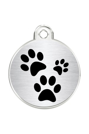 CNATTAGS Stainless Steel Pet ID Tags Personalized Designers Round Various Designs (Paws)