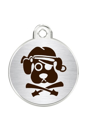 CNATTAGS Stainless Steel Pet ID Tags Personalized Designers Round Various Designs (Pirate Dog)