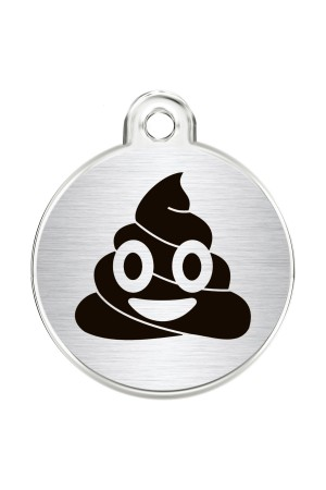 CNATTAGS Stainless Steel Pet ID Tags Personalized Designers Round Various Designs (Poop Petmoji)