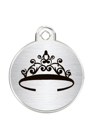 CNATTAGS Stainless Steel Pet ID Tags Personalized Designers Round Various Designs (Tiara)