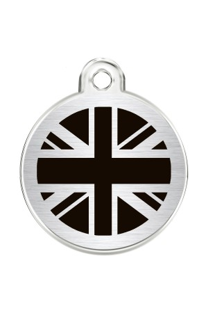 CNATTAGS Stainless Steel Pet ID Tags Personalized Designers Round Various Designs (UK FLAG)