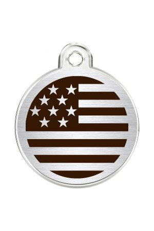 CNATTAGS Stainless Steel Pet ID Tags Personalized Designers Round Various Designs (USA FLAG)
