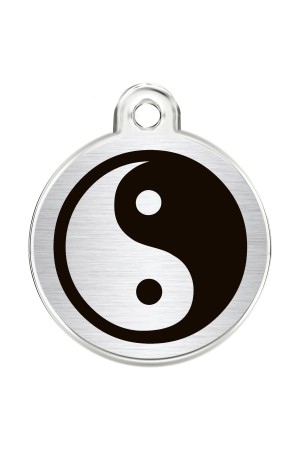 CNATTAGS Stainless Steel Pet ID Tags Personalized Designers Round Various Designs (Yin & Yang)