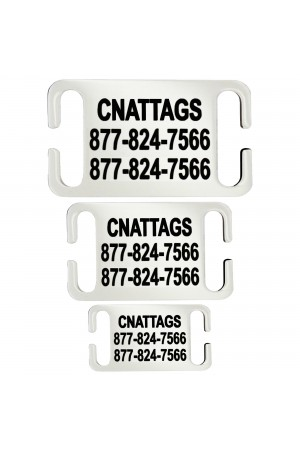 CNATTAGS - Stainless Steel Slide-On Pet ID Tags Dog Tags Personalized Front and Back Engraving