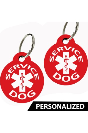 Service Dog Pet Tags Personalized (Round) (Set of 2)