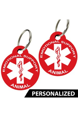 ESA - Emotional Support Animal Pet Tags - Personalized (Round) (Set of 2)