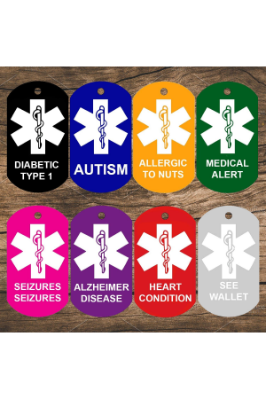 Medical Alert ID Tags (Military Shape) (Set of 2)