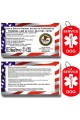 CNATTAGS - Service Dog ID Tag Kit, 50 Double Sided ADA Info Cards and 2 Premium Aluminum Double Sided Dog Tags (ADA Info Cards + Military Tags)